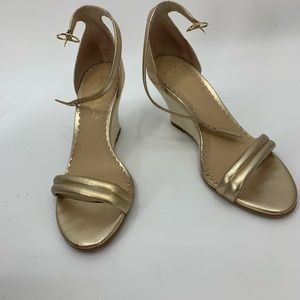 LILLY PULITZER gold cork wedge open toe sandals